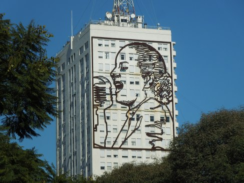 The outline of Evita on a building in Buenos Aires, Argentina