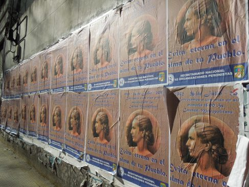 Evita posters on a street in Buenos Aires, Argentina