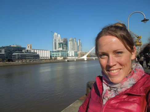In front of the Ponte de la Mujer in Puerto Madero, Buenos Aires