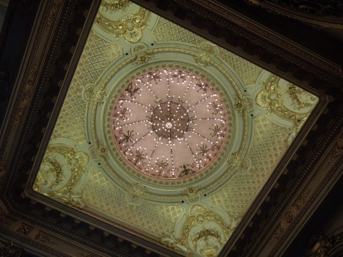 A ceiling inside the Teatro Colón in Buenos Aires, Argentina